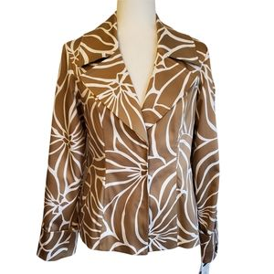 INC NWT Abstract Animal Print Lined Collared Blazer w/ Snaps Women's Small
